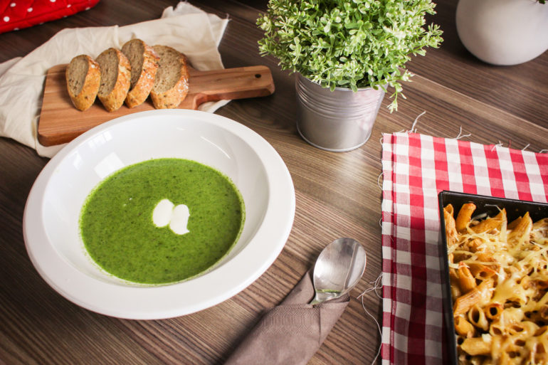 Spinach Soup with Slices of Bread