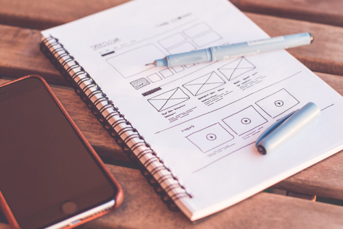 Sketching Webdesign Layout Wireframe Ideas