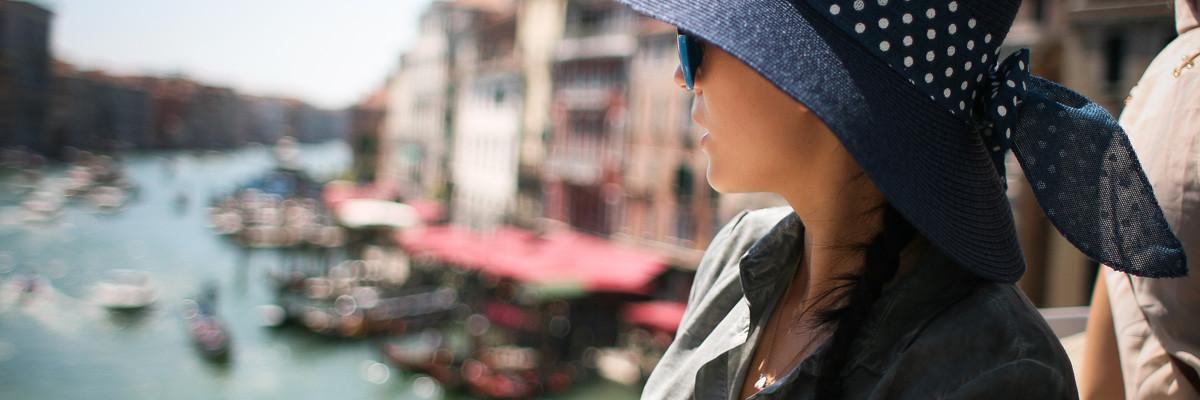 Girl on Rialto Bridge, Venice, Italy